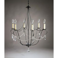 Signature 6 Light 25 inch Dark Brass Chandelier Ceiling Light in With Crystals